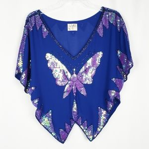 FREE PEOPLE sequin butterfly top